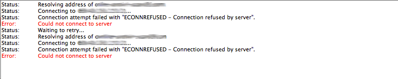 ECONNREFUSED Connection refused by server error filezilla