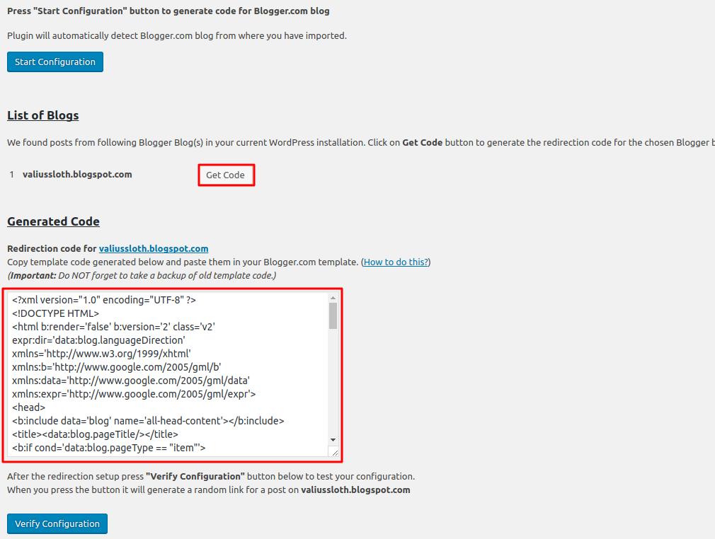 code redirection blogger wordpress