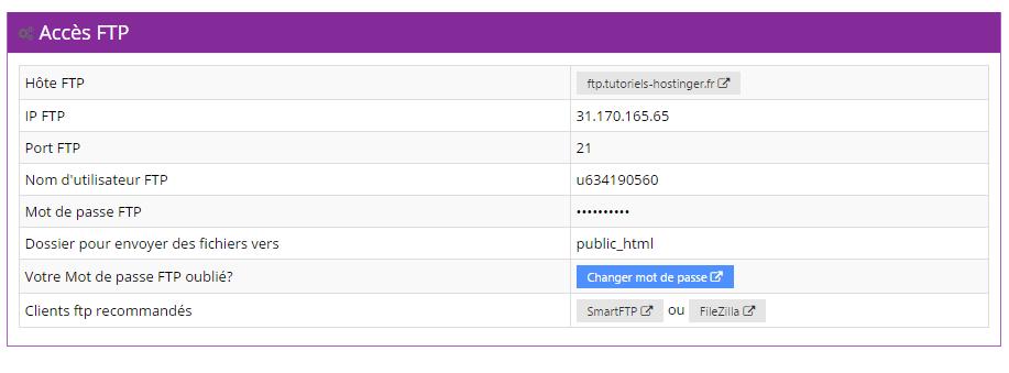 acces ftp hostinger