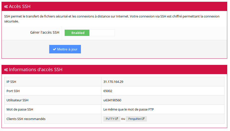 informations ssh mutualise hostinger