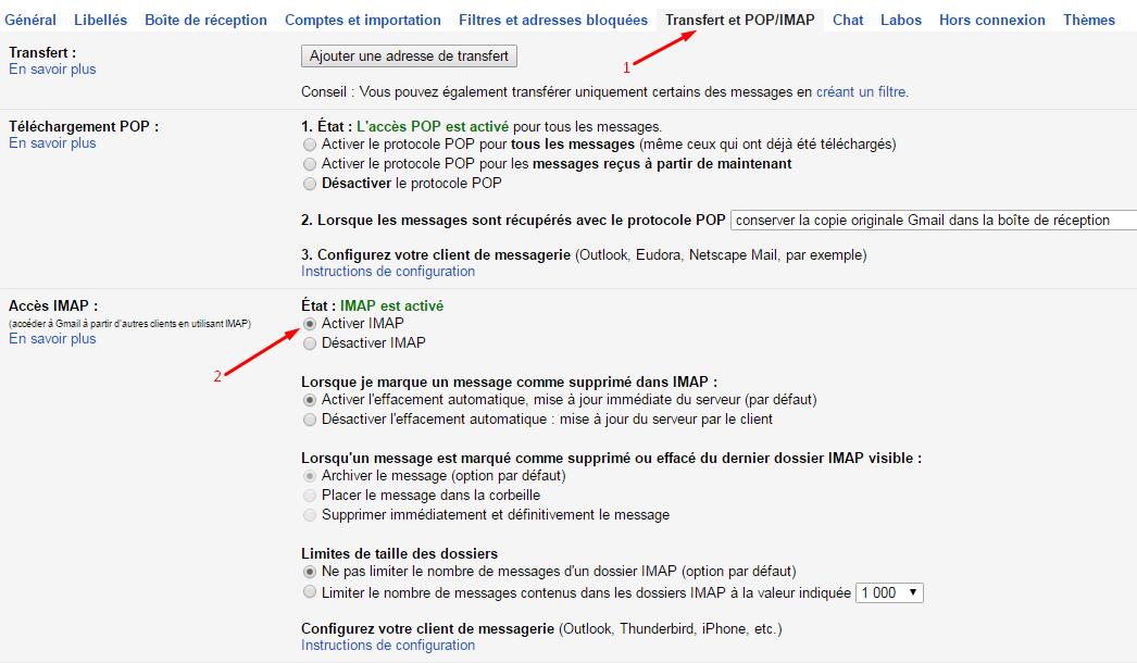 Activer IMAP dans Gmail