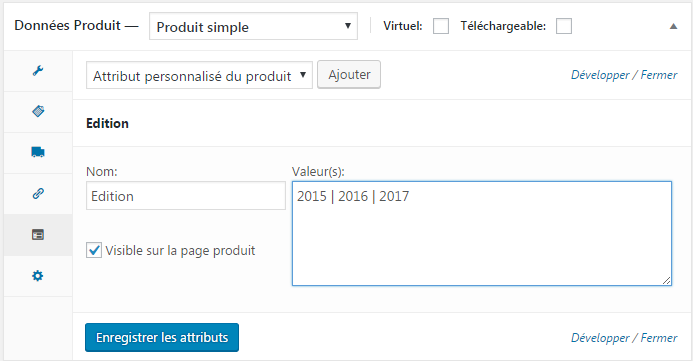 attributs woocommerce