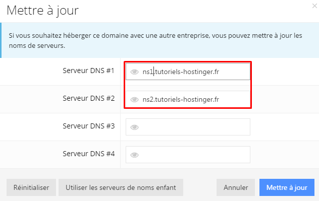 Changer les DNS sur Hostinger