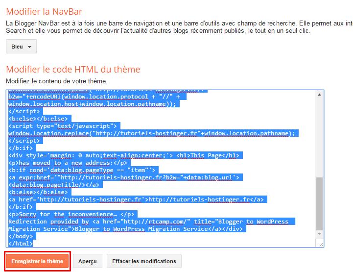code html classique blogger