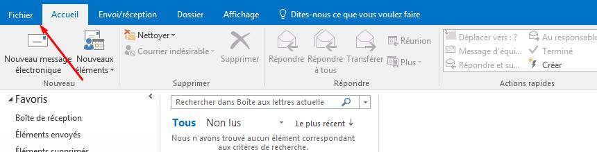 configurer email outlook facultatif