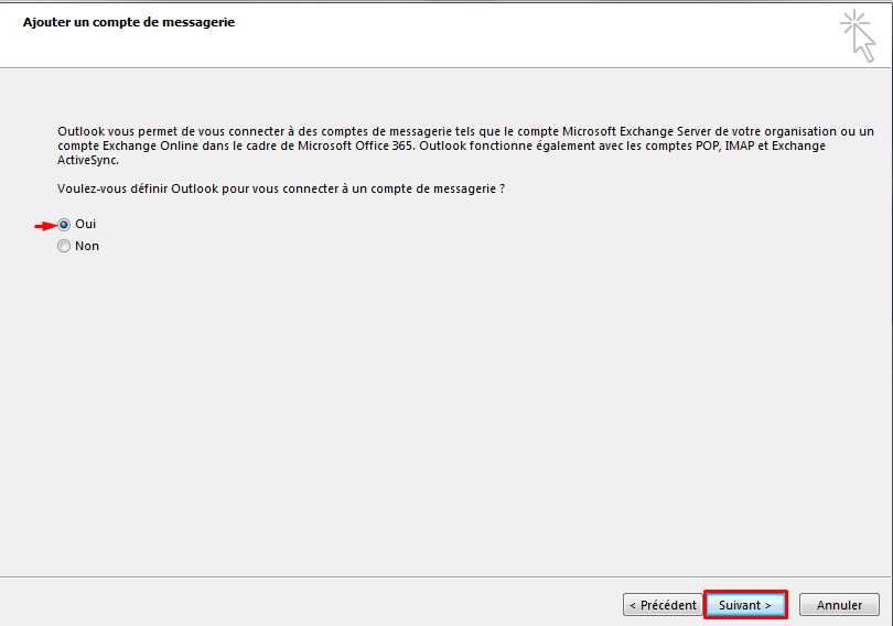 Configurer email outlook 2
