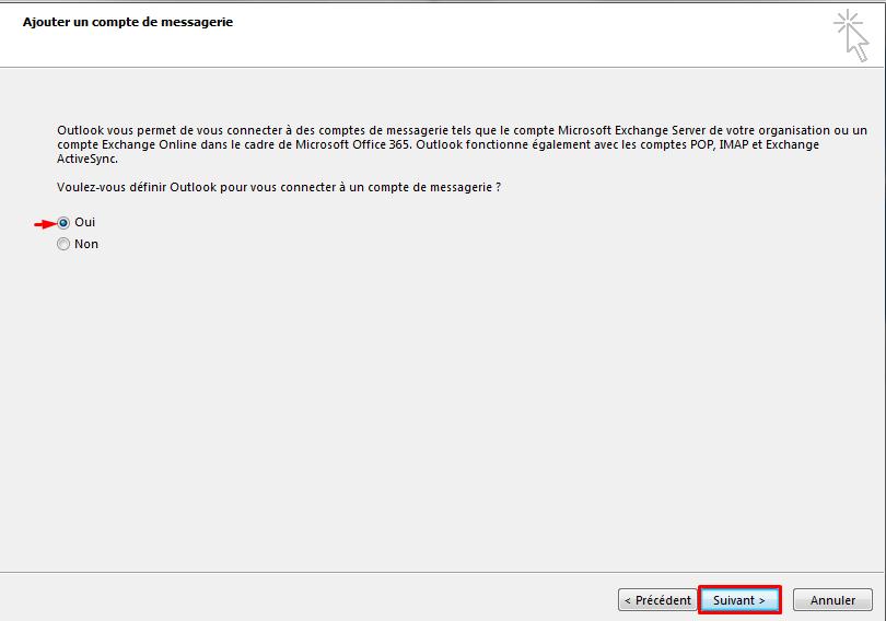 Configurer email outlook 2