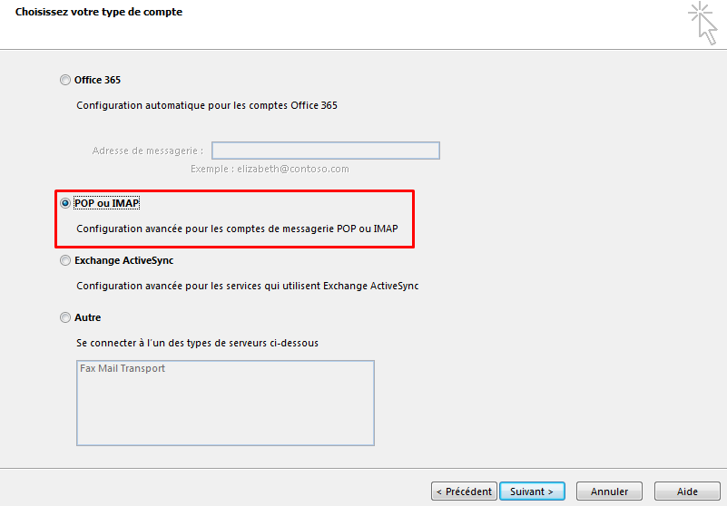 Configurer email outlook 4