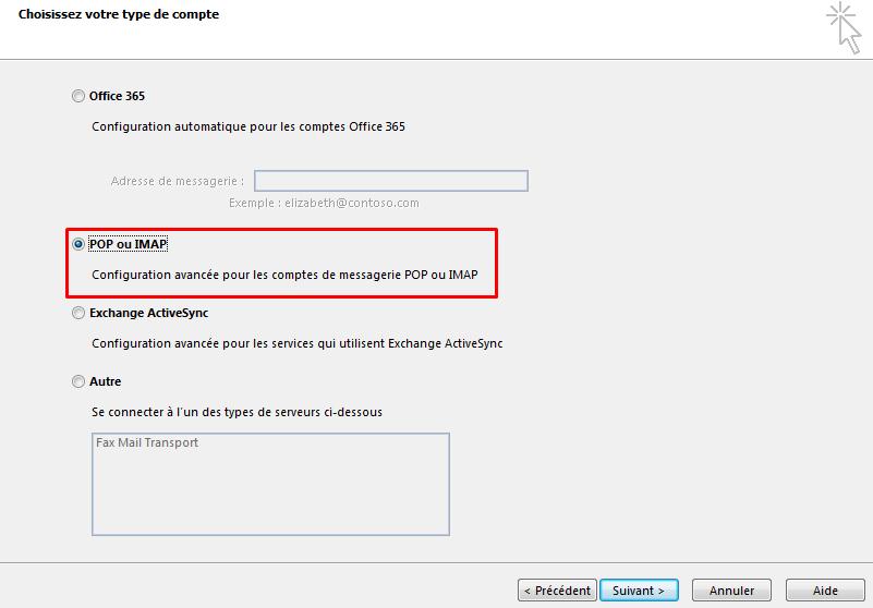 Configurer email outlook 4