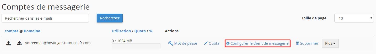 Configurer client messagerie sur Cpanel