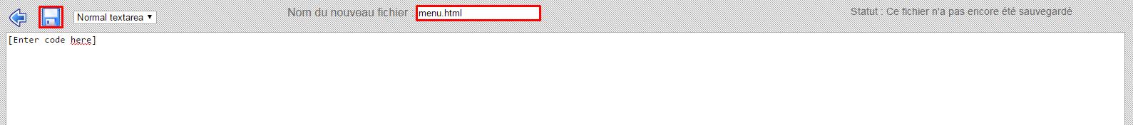 creer fichier menu html