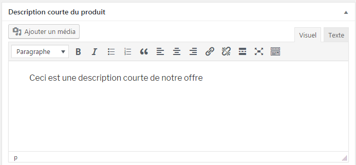 description courte woocommerce