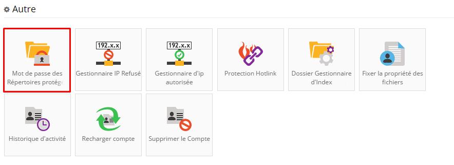 dossier proteges mot de passe hostinger