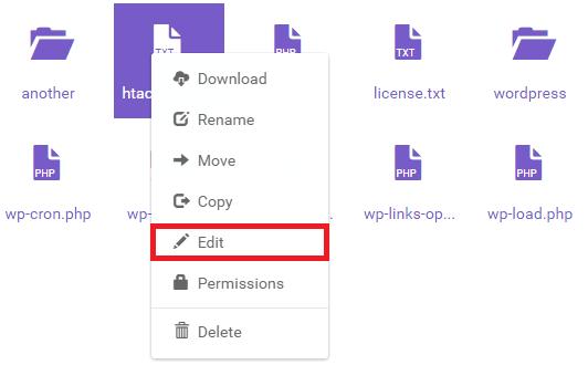 edit htaccess gestionnaire fichiers hostinger