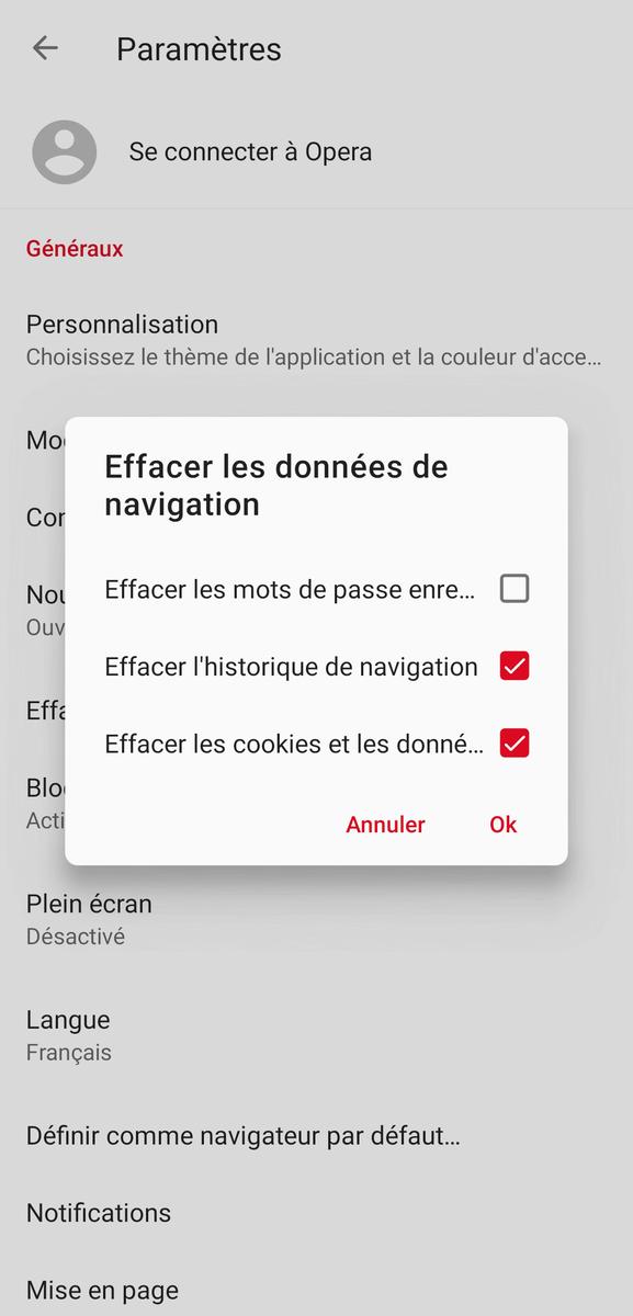 Vider le cache du navigateur sur Mozilla Opera Mini sur Android