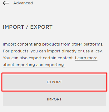 export option squarespace