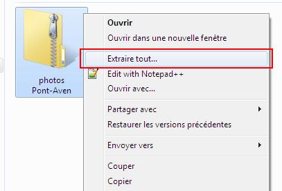 Extraire tout fichier zip