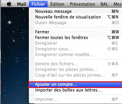Fichier et ajouter compte sur Mac Mail