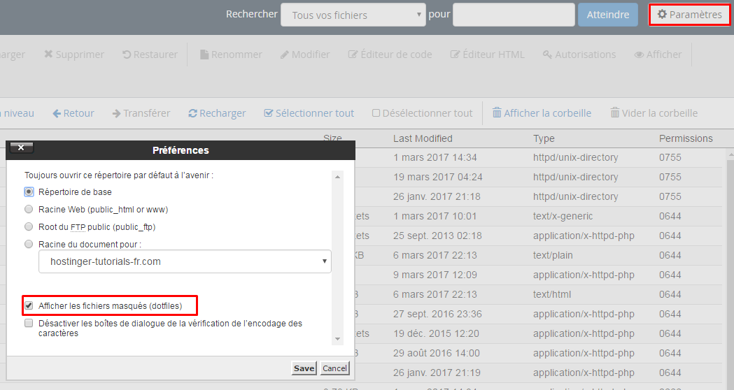 fichiers masques cpanel