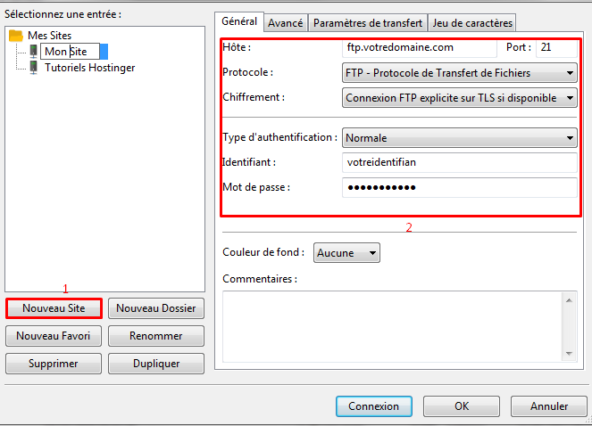 filezilla configurer site