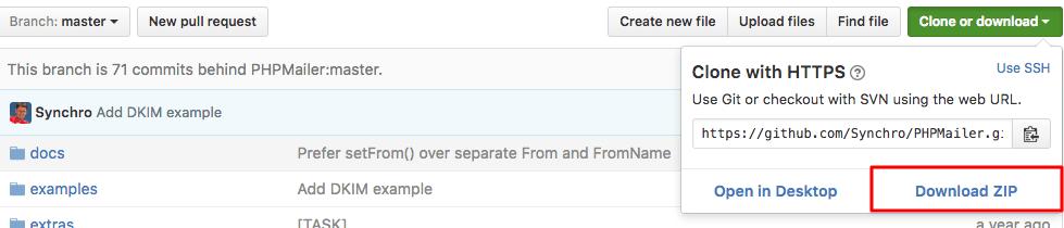 Télécharger le ZIP de PHPMailer depuis GitHub