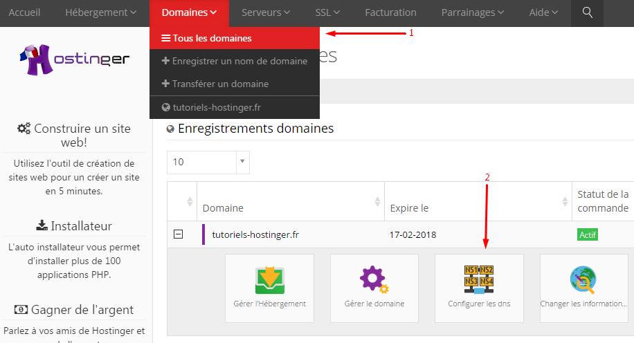Changer les DNS sur le CPanel Hostinger