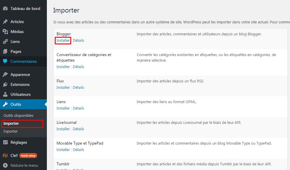 importer outils wordpress