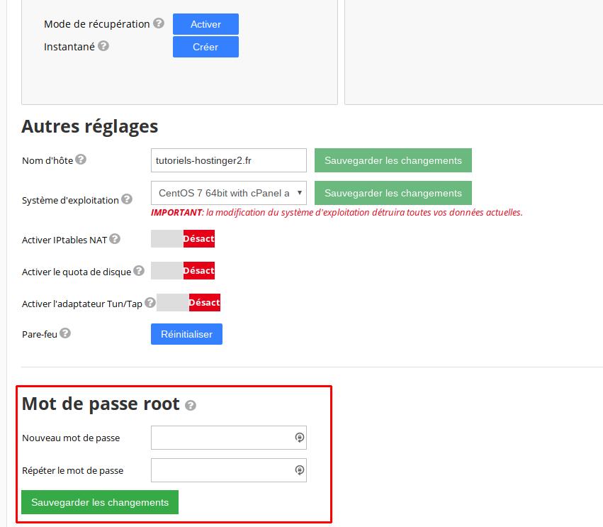 mot de passe root vps hostinger