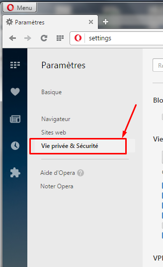 opera vie privee securite