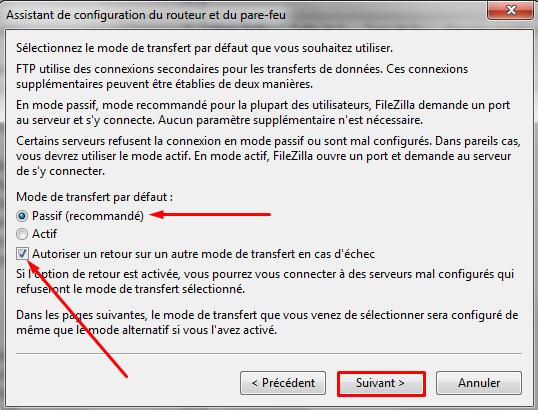 passif autoriser retour filezilla
