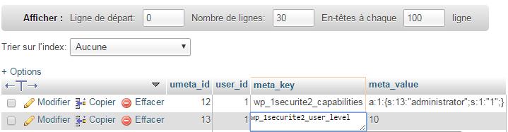 Changer les meta_key dans phpMyAdmin