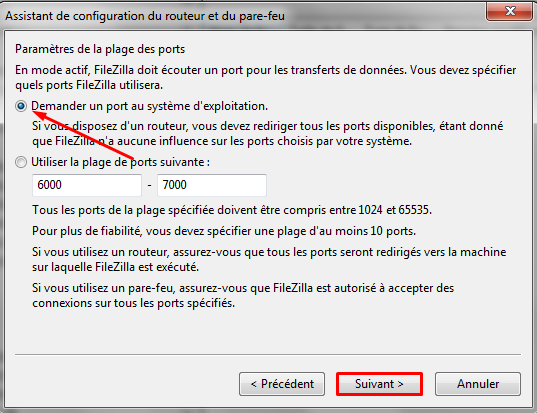 port os filezilla