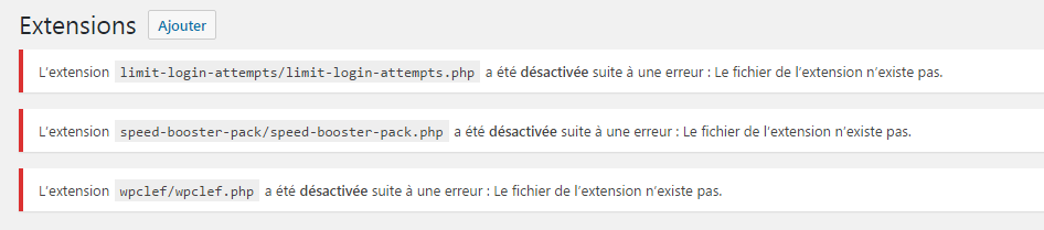 reinstaller plugins wordpress