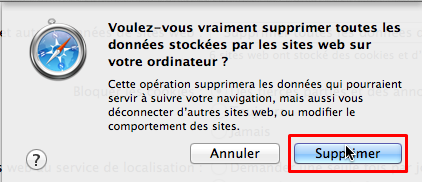 safari confirmer supprimer