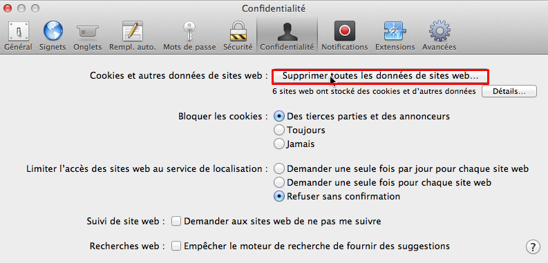 safari supprimer donnees cache
