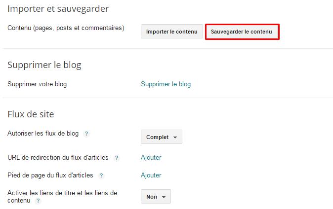 sauvegarder contenu blogger
