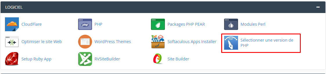 selectionner version php cpanel