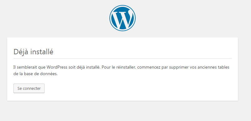 deja installe wordpress