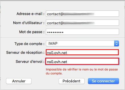 serveurs personnalisés mac mail
