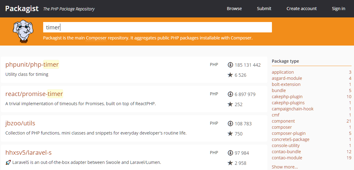 L'interface du site Packagist où vous pouvez télécharger les dépendances pour Composer