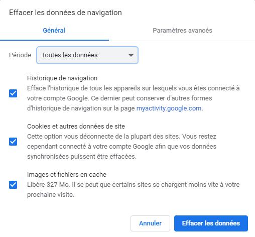 Vider le cache du navigateur dans Google Chrome