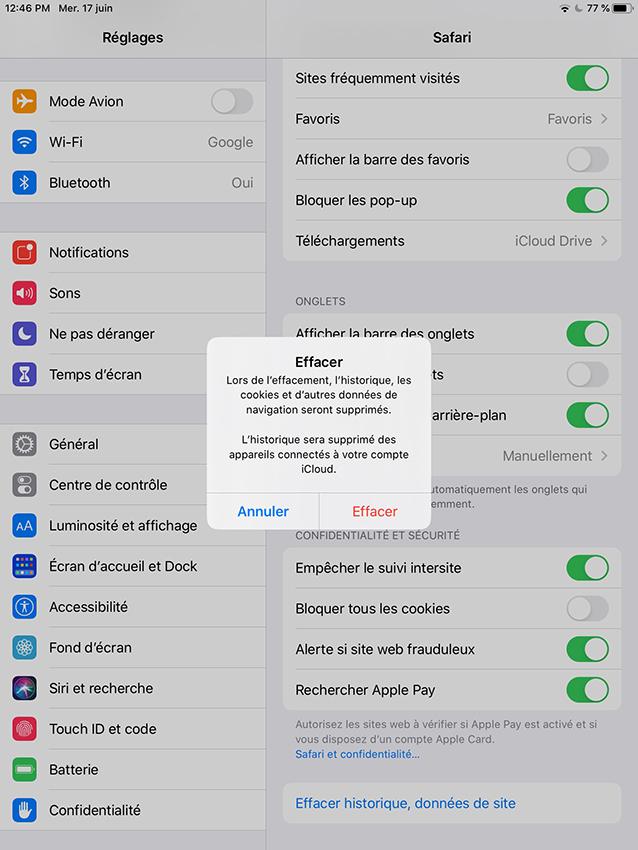 Vider le cache du navigateur Safari sur un appareil iOS