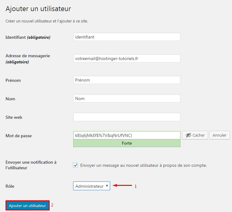 Ajouter un utilisateur à WordPress