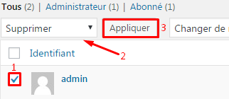 Supprimer l'utilisateur admin de WordPress