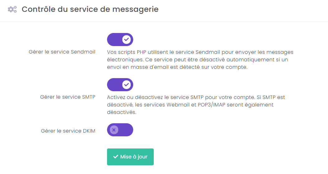 L'option Gérer le service Sendmail est activée par défaut.
