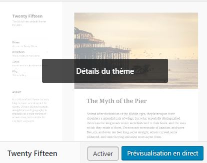 activer theme wordpress