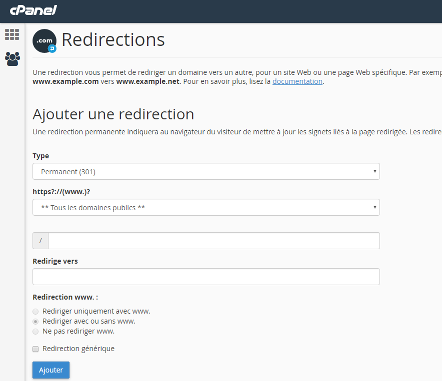 ajouter redirection cpanel