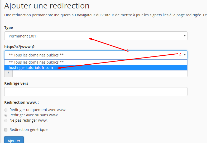 ajouter redirection cpanel 2