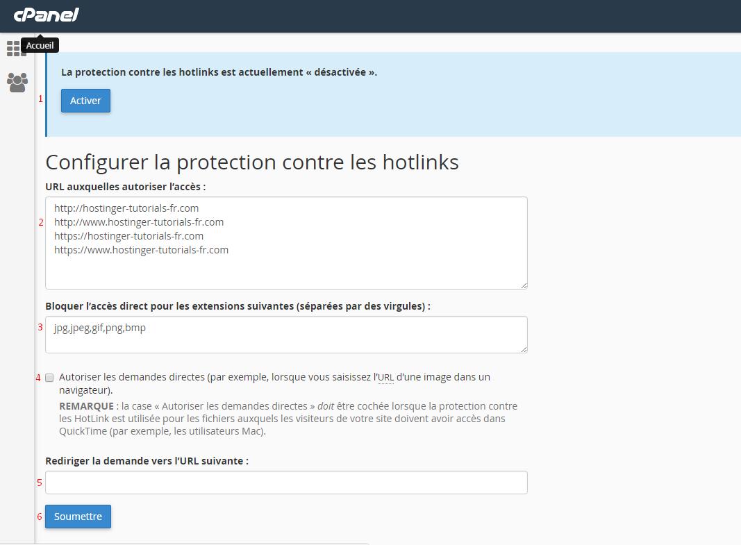 configurer protection hotlink cpanel