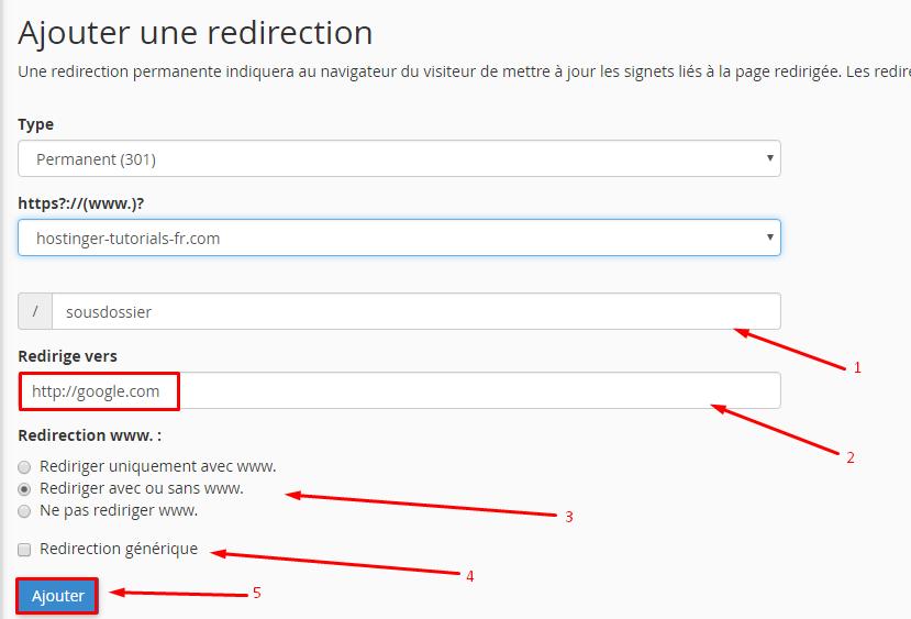 configurer redirection cpanel